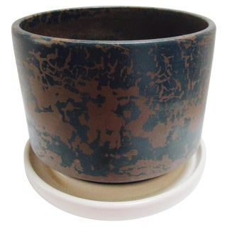 Gainey Planter Pot & Saucer Blue Brown