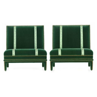 Hollywood Regency Velvet Slipper Chairs - A Pair
