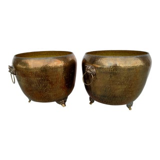 Maitland Smith Hand-Hammered Brass Planters - A Pair