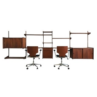1960s Monumental Danish Teak Wall Unit With Chairs