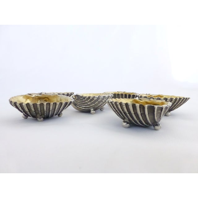 Image of Antique Silver Shell Salt Cellars - Set of 6