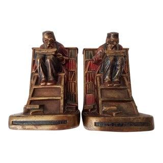 1920s Vintage G.S. Allen Armor Bronze Bookends- A Pair