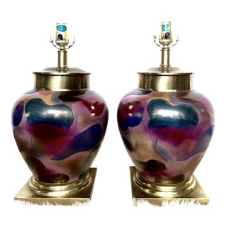 Multi-Colored Ceramic Lamps - A Pair