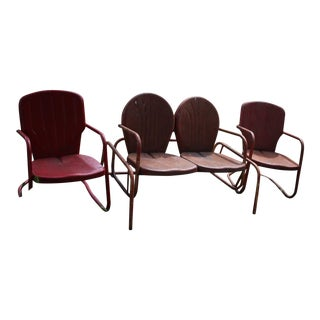 Vintage Metal Patio Glider & Two Chairs - Set of 3