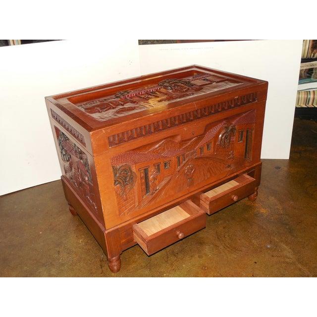 Honduran Carved Mahogany Trunk - Image 8 of 8