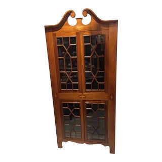 Antique English Inlaid Arch-Top Corner Cabinet