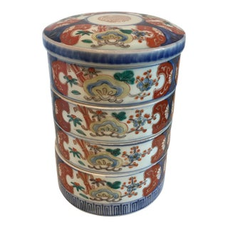 Chinese Porcelain Stacking Boxes - Set of 5