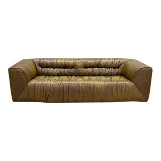 Timothy Oulton Modern Ruffed Leather Sofa