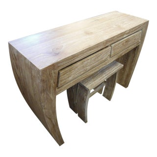 Pale Teak Wood Vanity & Matching Stool