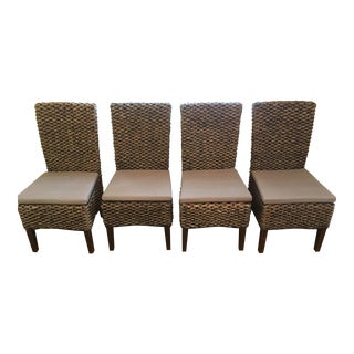 (4) New [Wayfair/Birch Lane Seagrass] Wicker Chairs - (Linen Cushions & Linen Seat Covers Included)