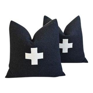Custom Charcoal Appliqué Cross Wool Feather Pillows - A Pair