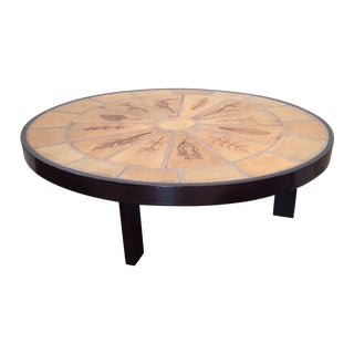 Roger Capron Oval Tile Top Coffee Table