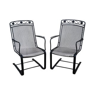 Woodard Vintage Patio Expanded Metal Iron Spring Arm Chairs - Pair