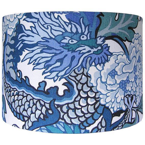 Large Blue Lamp Shade: Large Schumacher Chiang Mai Dragon Chinese Blue Custom