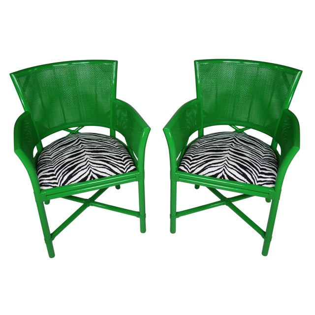 Ficks Reed Worth Ave Green Rattan Chairs A Pair on Ficks Reed Rattan Coffee Table