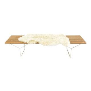 Harry Bertoia for Knoll Slat Bench With Brazilian Sheepskin