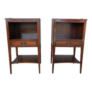 KINDEL Hepplewhite Style Mahogany Night Stands - Pair
