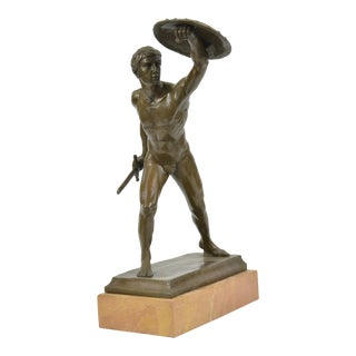 Roman Gladiator Bronze Statue on Marble Base Sculpture
