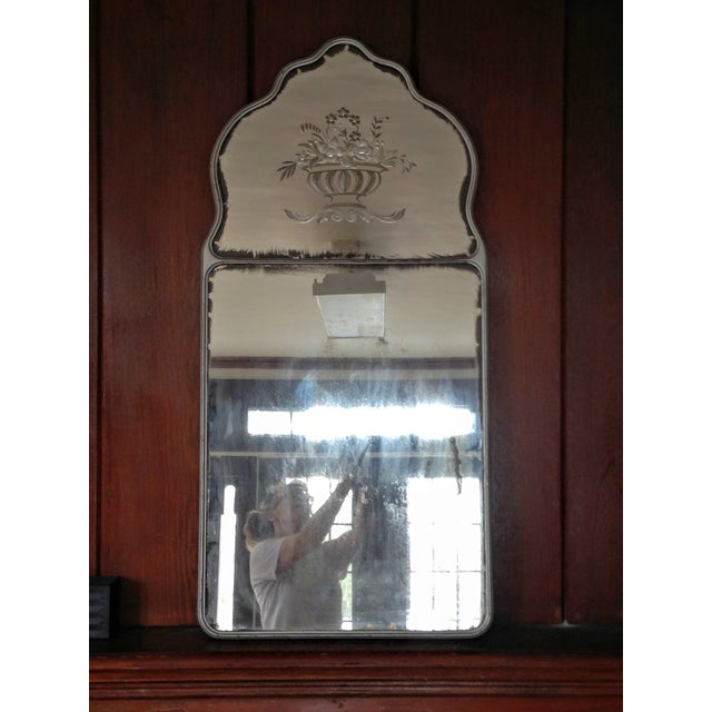 Large Vintage Etched Wall Mirror - Image 9 of 11