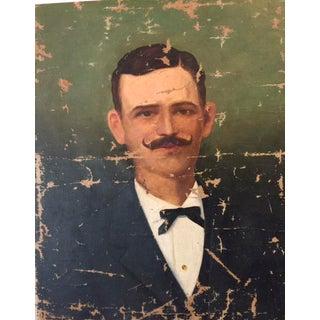 1900s Antique Gentleman With Mustache Portrait Oil Painting
