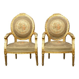 Vintage French Rococo Ornate Gold Gilt Carved Tapestry Accent Chairs - A Pair