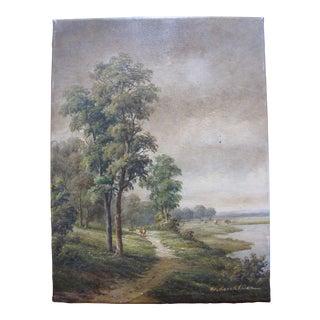 W. Kerckhoven Dutch Landscape Oil on Canvas Original Painting