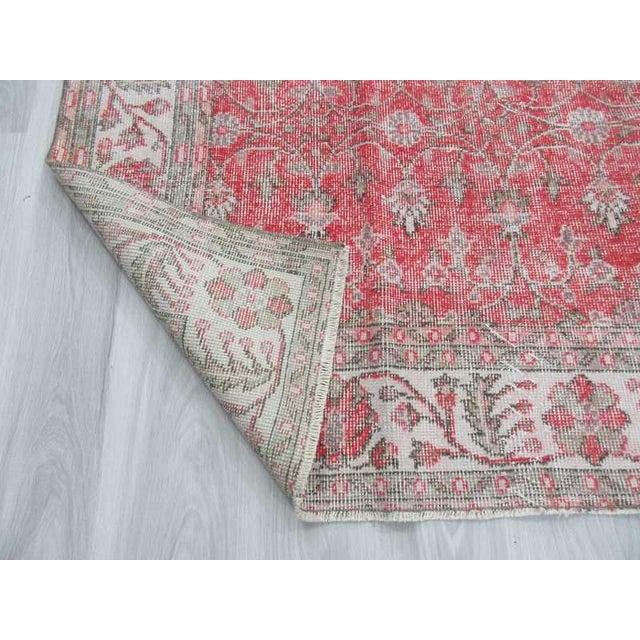Vintage Floral Turkish Rug - - Image 6 of 6