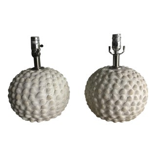 White Sea Shell Lamps - A Pair
