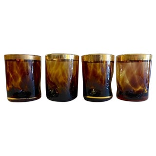 Mid-Century Amber Brown Gold Lowball Glasses - S/4