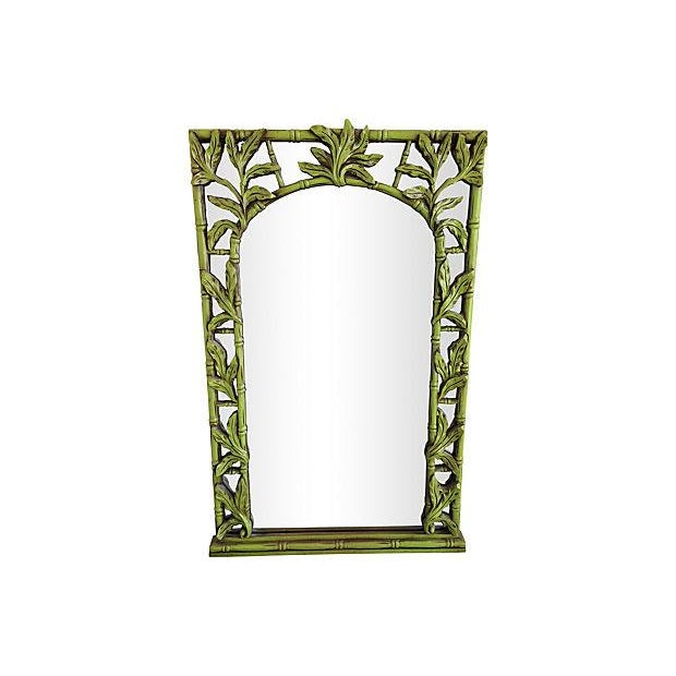 Green Serge Roche-Style Palm Bamboo Mirror - Image 1 of 4