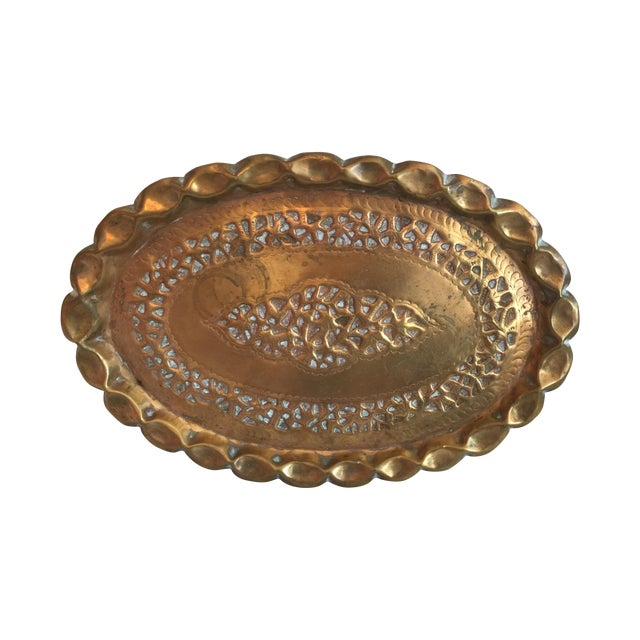 Large Oval Moroccan Brass Tray - Image 1 of 4