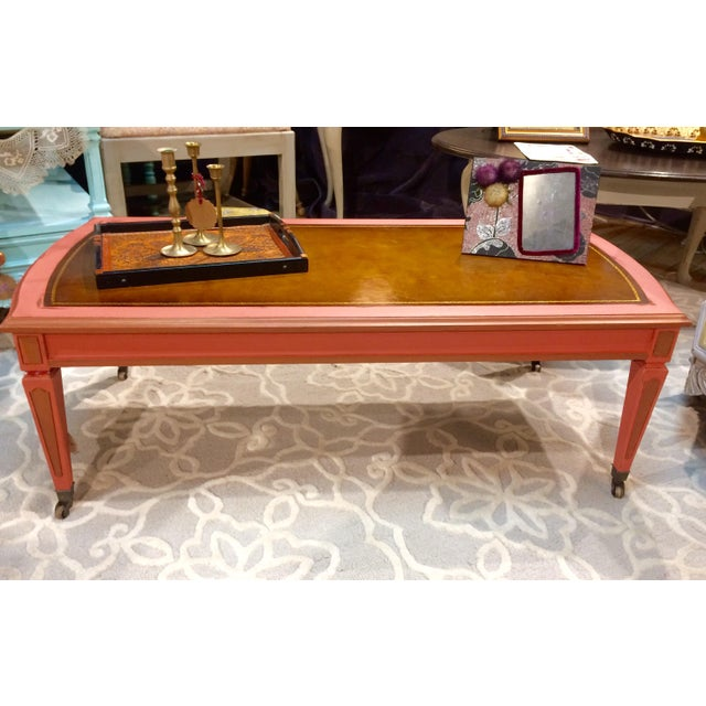 Leather Top Coffee Table - Image 3 of 8