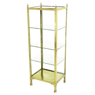 1930s Brass and Glass Open Three-Shelf Vitrine