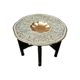 Antique Indian Brass Tray Table
