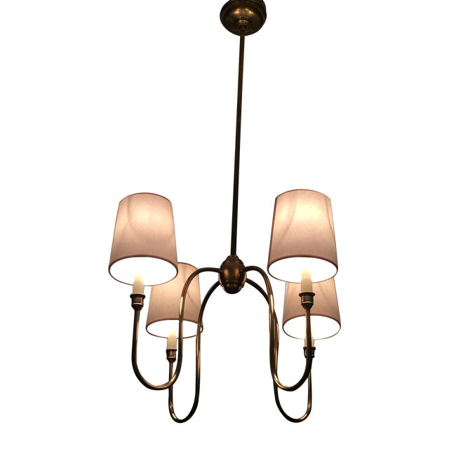 Classic 4-Arm Brass Chandelier With Light Shades - Image 1 of 3