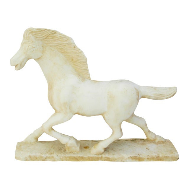 1940's Carved Marble Horse Statue - Image 1 of 11