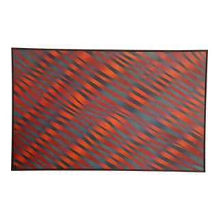"""J. Brown Op Art """"Fire and Water"""" Painting"""