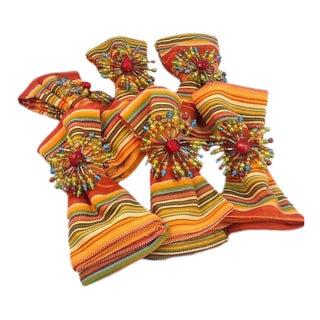 Cotton Weave Napkins & Beaded Napkin Rings - S/6