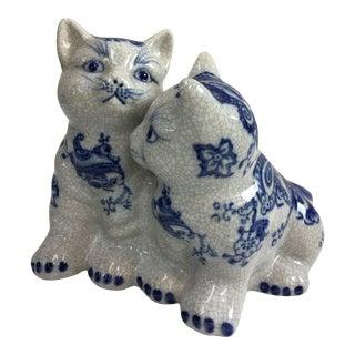 Blue & White Ceramic Garden Cats Figurine