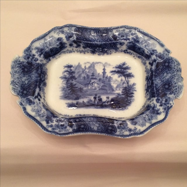 """Flow Blue 12"""" Footed Serving Dish - Image 2 of 10"""