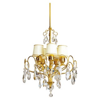 Brass & Swarovski Strass Crystal Chandelier