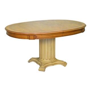 Karges Vintage Oval Walnut Top Pedestal Base Expanding Dining Table