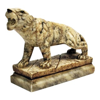 Antique Carved Marble Tiger