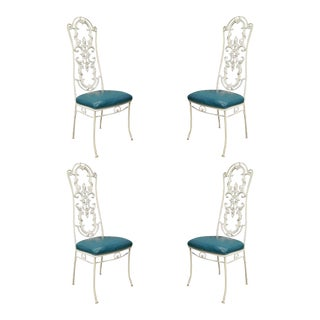 Vintage Wrought Iron Hollywood Regency French Dining Chairs - Set of 4