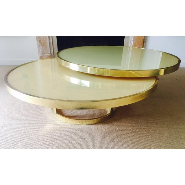 Mod Two Tier Brass Glass Swivel Coffee Table Chairish