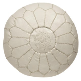 Moroccan Embroidered White Leather Pouf
