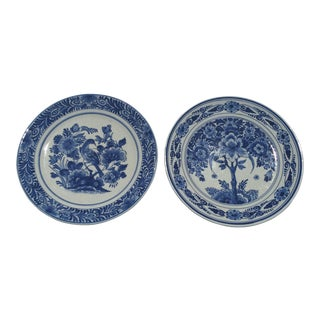 1955 Hand Painted Delft Bird & Tree Wall Plates - A Pair