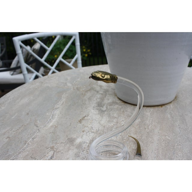 Alessandro Albrizzi Coiled Lucite & Brass Snake - Image 8 of 10