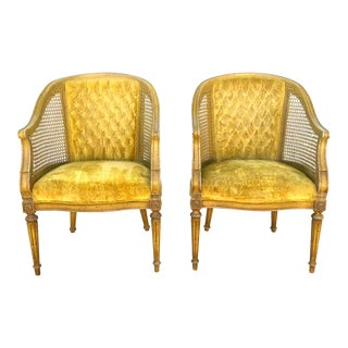 Vintage Hibriten Goldenrod Cane Barrel Chairs - A Pair