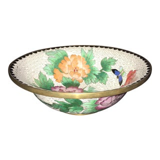 Chinese Cloisonne Bowl Floral Butterfly